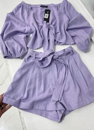 Костюм лавандового кольору, топ+шорти