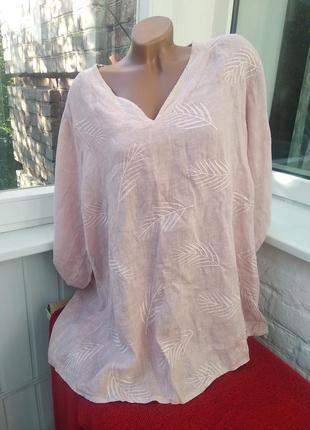 Шикарная льняная нежная блуза италия с выбитыми листками