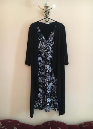 Батал большой размер оригинальное миди платье платьице плаття сукня кардиган