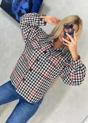 Женская рубашка, рубашка в клетку, нарядная рубашка