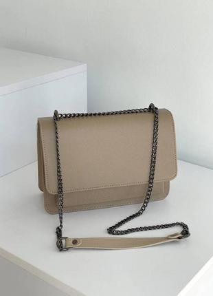 Бежевый клатч на цепочке бежевая сумка на цепочке сумка наплечная сумка на цепочке