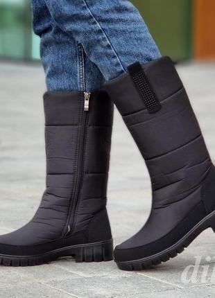 Сапоги дутики женские зимние черные - сапожки дутіки жіночі зимові чорні