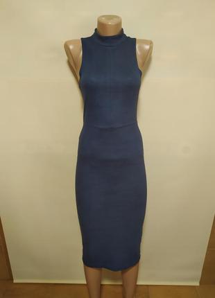 Платье карандаш официальное строгое синее эко замш замшевое красивое интересное