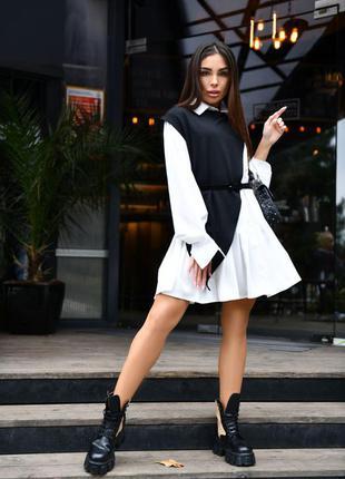Платье-рубашка со съёмной накидкой