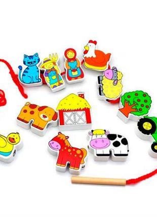 Деревянная шнуровка viga toys ферма
