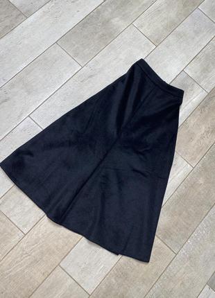 Чёрная шерстяная миди юбка(15)