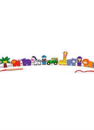 Деревянная шнуровка viga toys зоопарк