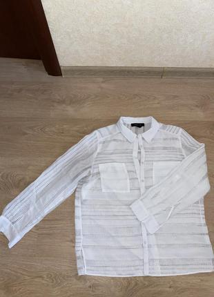Белая блузка женская, сеточка, легкая, размер m-l