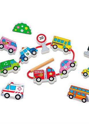 Деревянная шнуровка viga toys автотранспорт