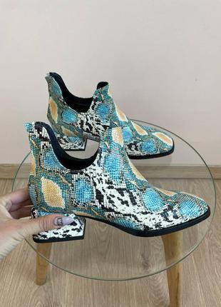 Эксклюзивные ботинки из натуральной итальянской кожи рептилия голубые