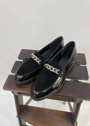 Эксклюзивные лоферы туфли натуральная итальянская кожа и замша черные с цепочкой