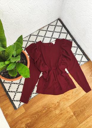 Блуза блузка рубашка бордовая с воланами рюшами