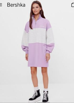 Платье свитер, плптье свитшот, платье оверсайз, теплое платье колорблок, сукня