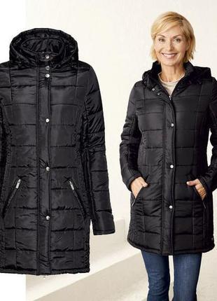 Демисезонное стеганное черное пальто esmara германия размер 44-46
