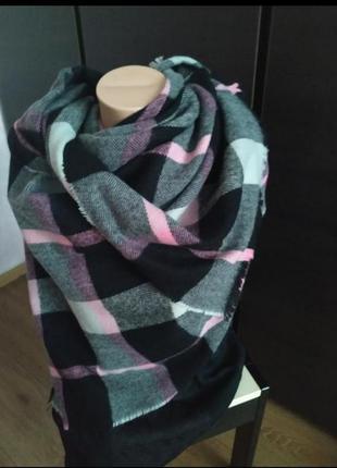 Теплый шарф, шарф в клетку
