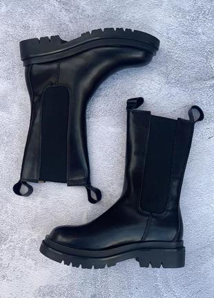 Шкіряні жіночі чоботи, чорні, класні, молодіжні, зручні