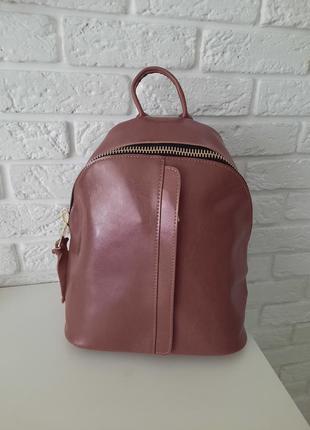 Рюкзак розовый из натуральной кожи