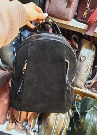 Замшевый черный рюкзак,  натуральный