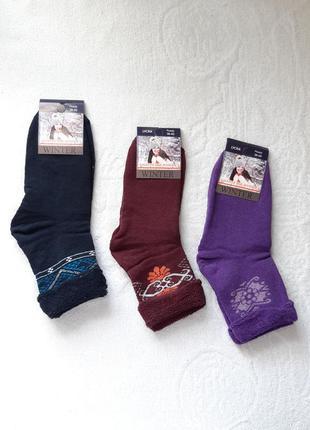 Махровые женские носки без резинки.36-40р.12 пар.ассорти.