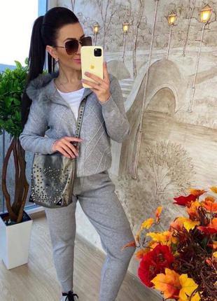 Теплый вязаный женский костюм кофта и штаны