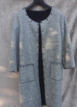 Крутой кардиган -пальто . шерсть.48-50