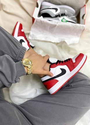 Air jordan 1 low full red кроссовки низкие кожа унисекс