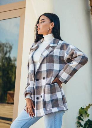 Пиджак пальто в клетку 2 цвета