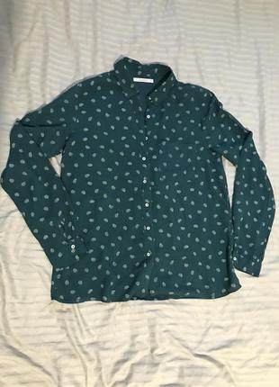 Блузка с длинным рукавом трендового темно-зелёного цвета
