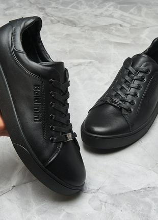 Кеды кроссовки черные кожа