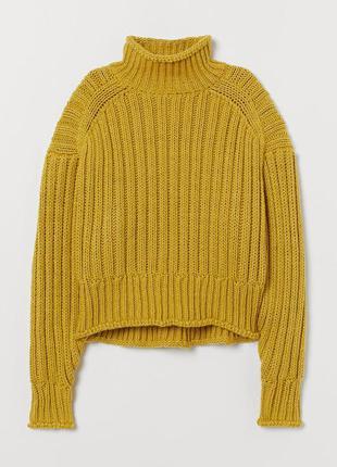 H&m тёплый укороченный свитер с шестью оливкового цвета размер м