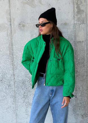 🔥 зеленая стеганная куртка укороченная