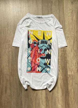 Стильная белая хлопковая футболка, майка с принтом stradivarius, p.s/m