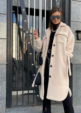 Пальто штучна альпака