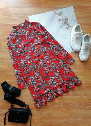 Женское яркое красное брендовое платье цветочный принт missguided - размер 46-48