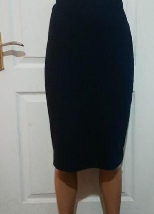 Фактурная тёмно синяя юбка миди 10 рр