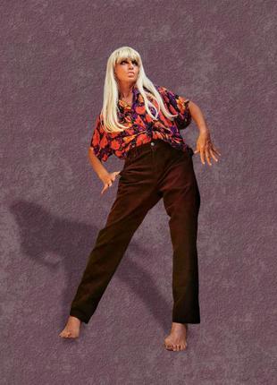 Вельветовые штаны брюки высокая посадка вельвет стрейч коттон хлопок f&f
