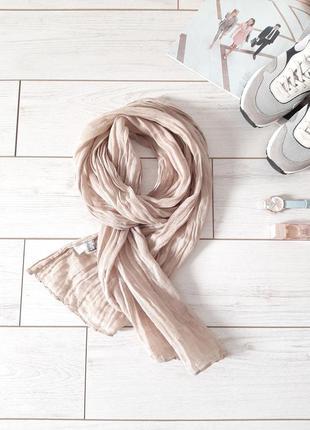Льняной легкий шарф_беж