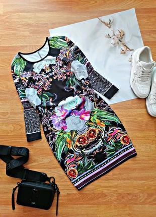 Женское яркое эластичное стрейчевое платье в обтяжку - размер 44-46
