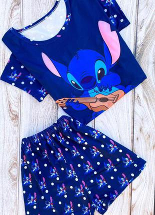 Синяя пижама футболка с шортами, піжама