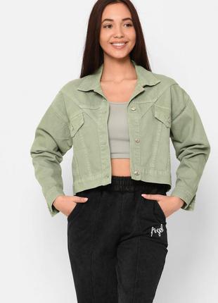 Мятная джинсовая куртка