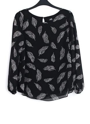 Легкая шифоновая блуза с перьями  • р-р 10\38 (м)