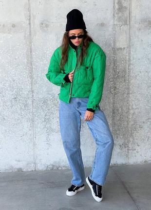 Стёганная куртка с кулисками и карманами