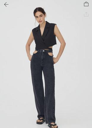 Pull&bear новые из сайта бомбезные плотные прямые широкие джинсы на высокую девушку