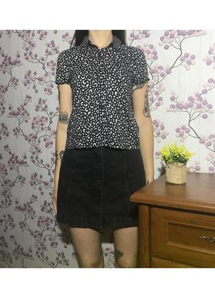Короткая лёгкая рубашка леопардовая xs 6 34 eur42