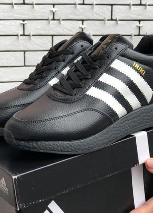 Зимние женские кроссовки на меху черно-белые adidas iniki🆕кожаные адидас иники