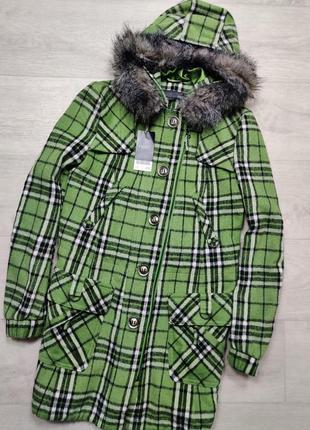 Теплая куртка парка в клетку