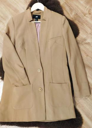 Піджак, жакет h&m  подовжений, прямого крою, колір кемл