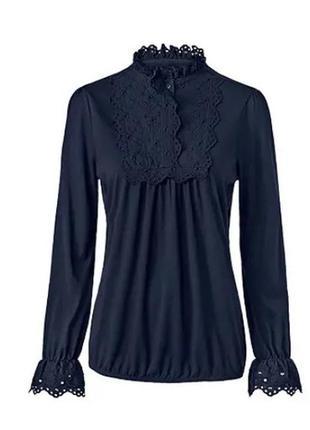 Модные вещи для пышных дам элегантная блуза с кружевом и стойкой-воротничком tchibo(германия)