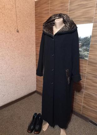 Теплое длинное шерстяное пальто sure
