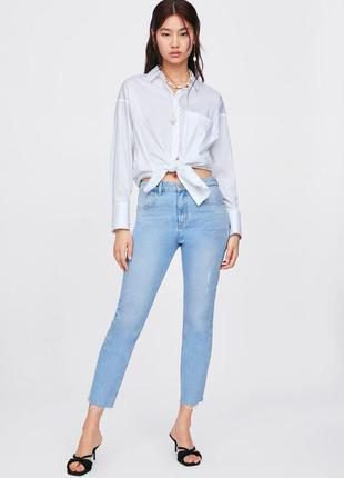 Zara джинсы с высокой талией и необработанным низом